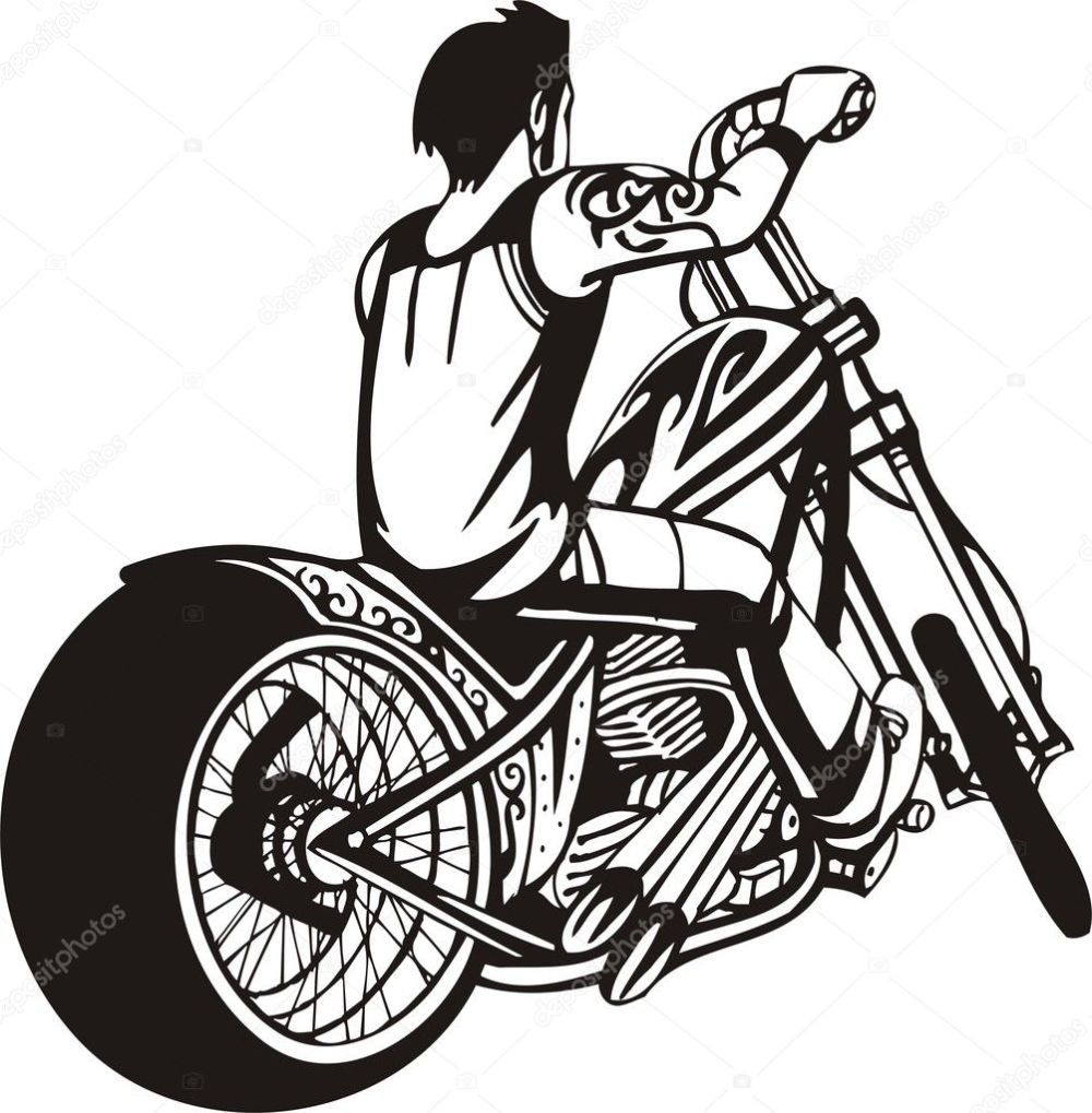medium resolution of biker on motorcycle motorcycle harley tuned chromium vector by digital clipart