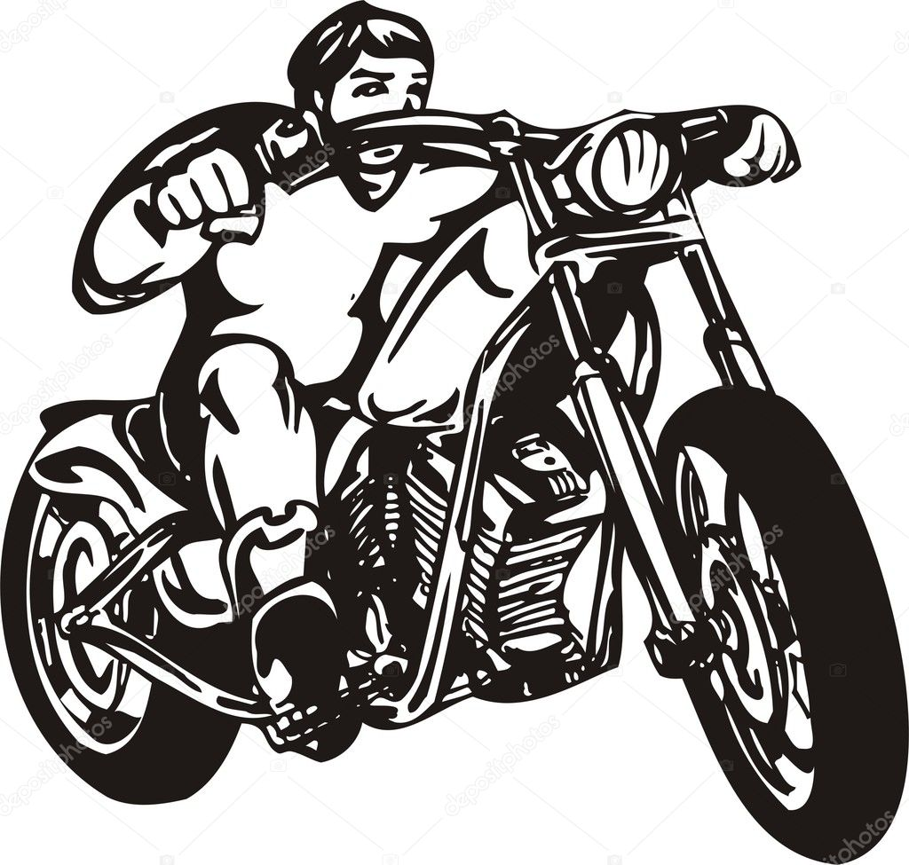 hight resolution of biker on motorcycle motorcycle harley tuned chromium vector by digital clipart