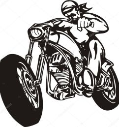 biker on motorcycle motorcycle harley tuned chromium vector by digital clipart [ 987 x 1024 Pixel ]