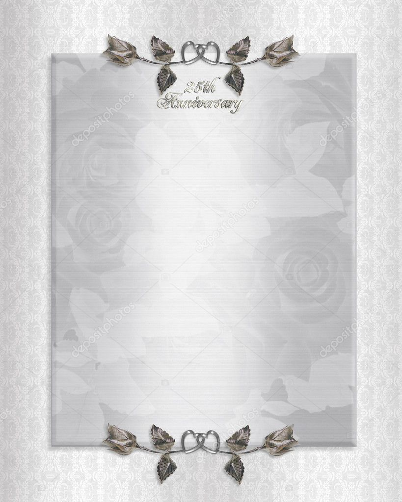 Ilration Silver Satin And Lace Background With 3d Text For 25th Wedding Anniversary Invitation Template Roses Copy E Photo By Irisangel