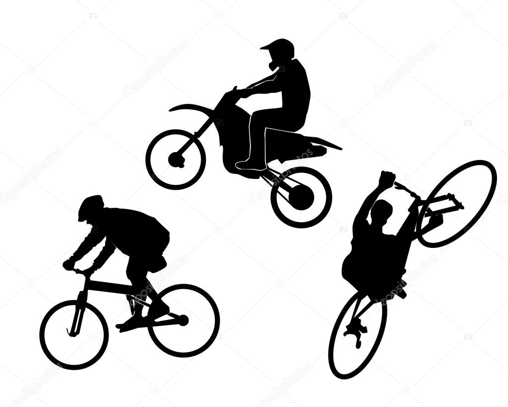 Bicycle a motorcycle on a white background — Stock Vector