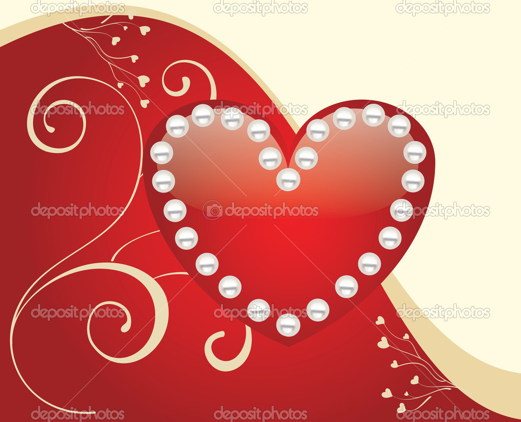 Glossy Red Heart Background Vector