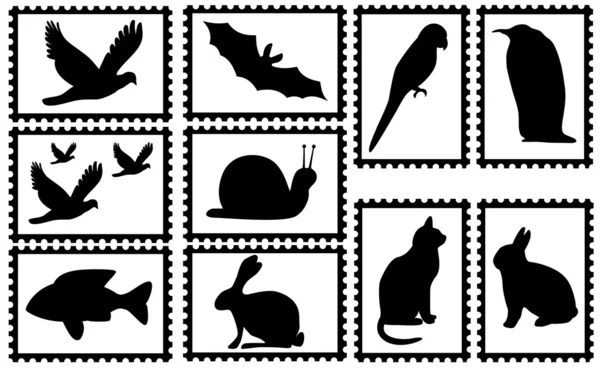 Stamps with animal silhouettes — Stock Vector