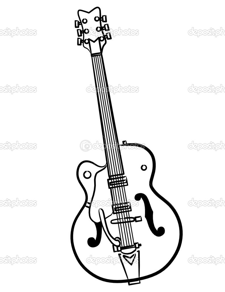 Electric Guitar line art illustration — Stock Photo