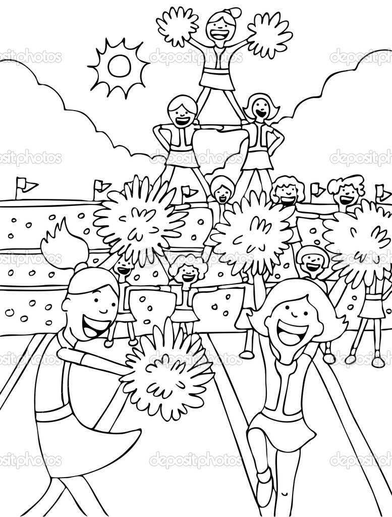 Free cheerleading stunts coloring pages