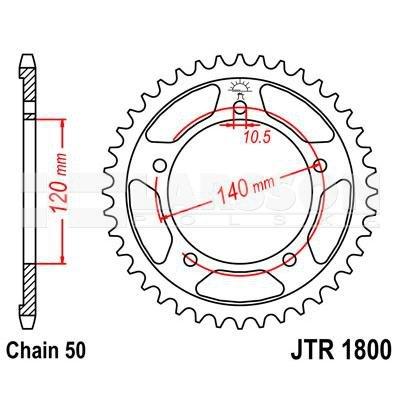 Zębatka tylna stalowa JT 1800-46, 46Z, rozmiar 530 2302106