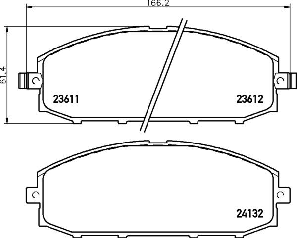 8DB 355 010-511 FRONT DISC PAD SET WITH ACOUSTIC WEAR