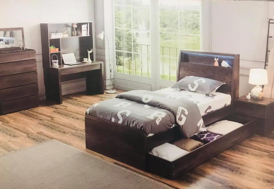 king single bed built in light with pullout trundle new design charcoal