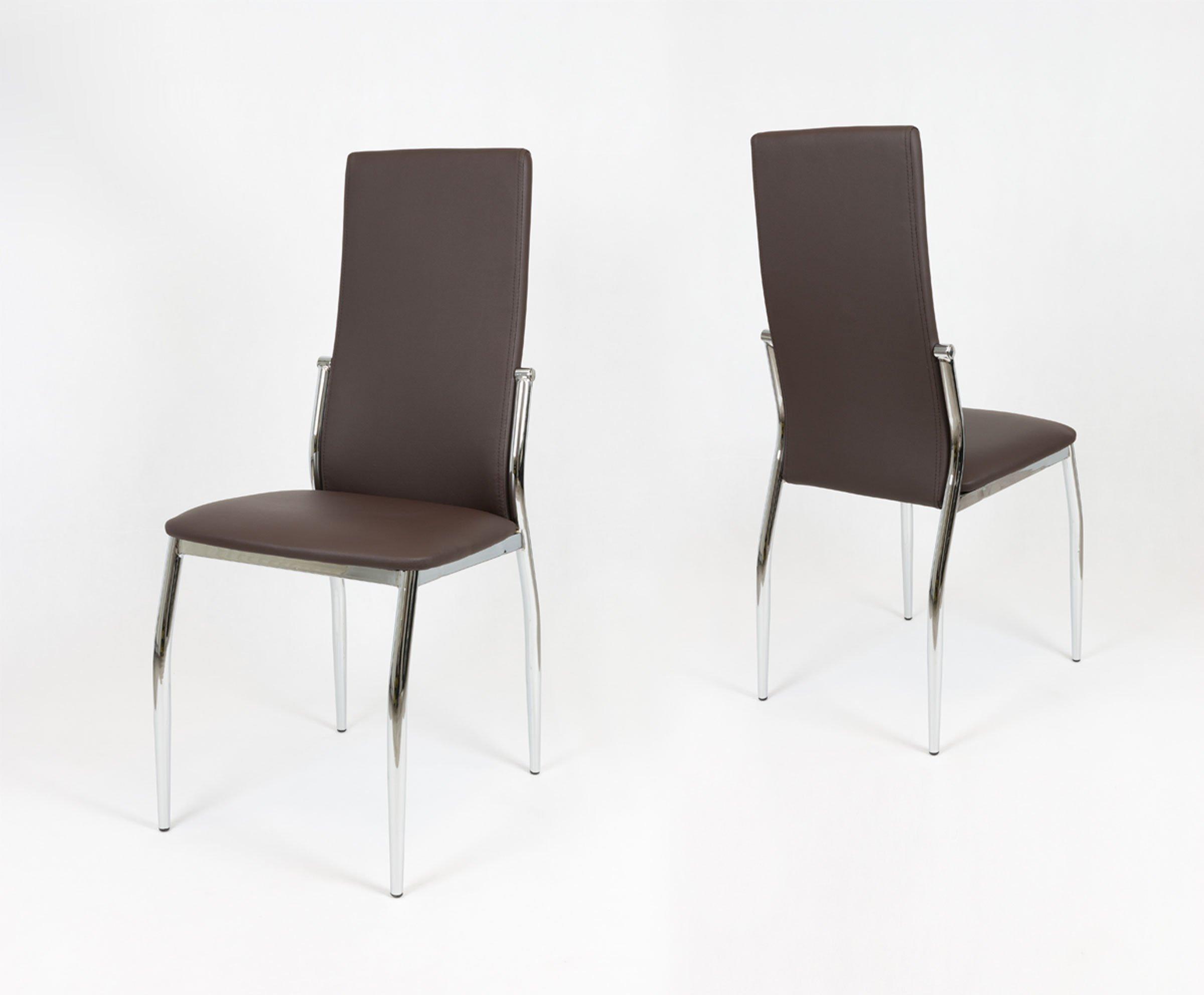 Sk Design Ks004 Braun Grau Kunsleder Stuhl Mit Chromgestell