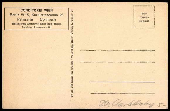 Postcard Berlin CharlottenburgKonditorei  akpoolcouk