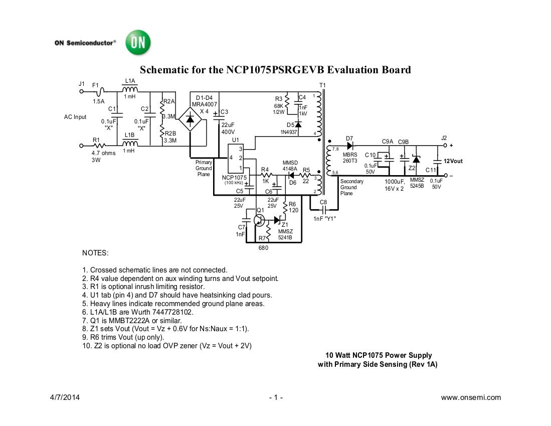 NCP1075PSRGEVB Diseños de referencia | Suministros de energía de una sola salida de CA a CC | Arrow.com