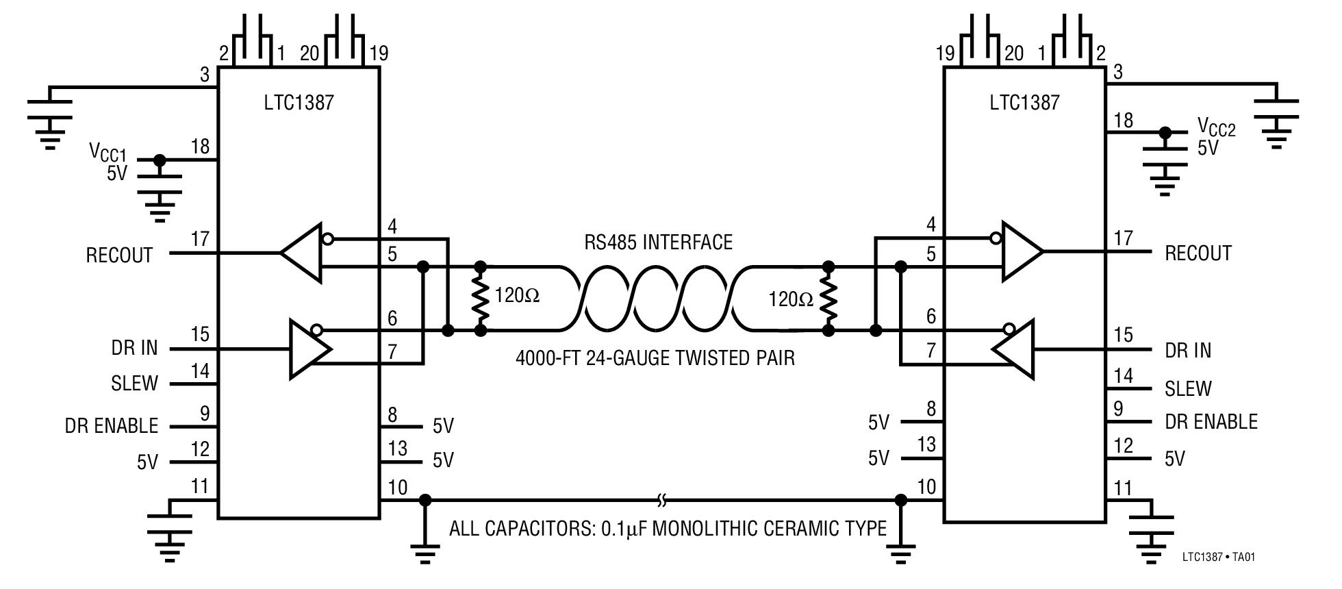 rs485 wiring allen bradley reversing contactor diagram ltc1387 typical application reference design rs 485