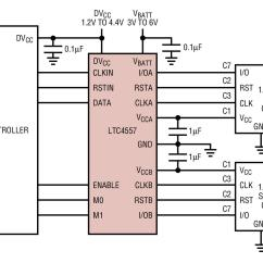 Sim Card Reader Circuit Diagram Trailer Plug Wiring With Electric Brakes Ltc4557 Typical Application Reference Design Adapter