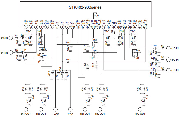 Amplifier Circuit Diagrams 1000w Stk402 950 Typical Application Reference Design Audio