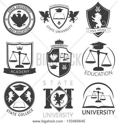 Heraldry of university black white emblems with academic
