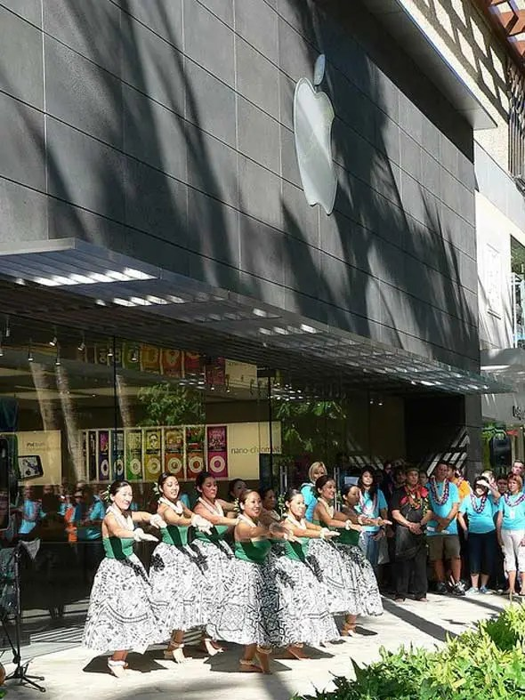 Apple store openings are usually a big deal. Here you can see the celebration of a store opening in Hawaii.