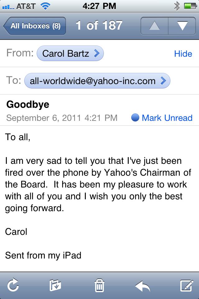 carol bartz fired memo