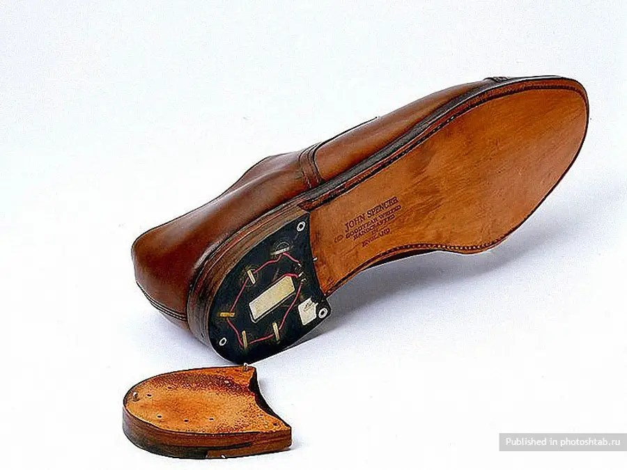 A transmitter hidden in the heel of a shoe.
