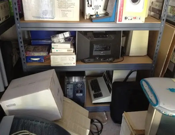 Greelish's garage is filled old computer hardware and software. Look for the Commodore PET, Mac G4 and iBook.