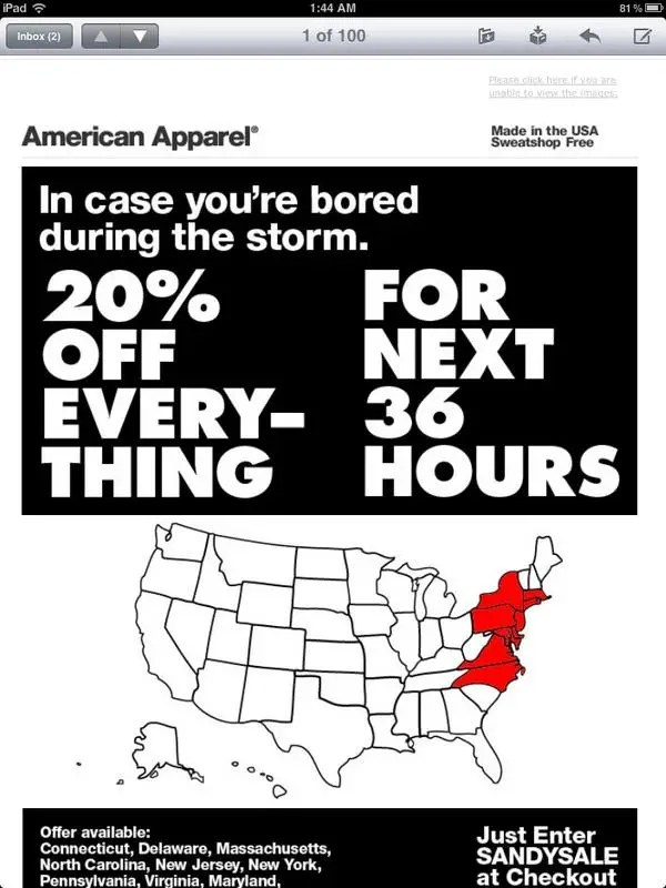9. American Apparel exploits Hurricane Sandy.