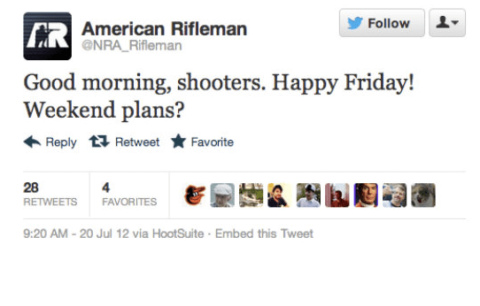 8, The NRA's magazine posted an insensitive tweet after the Aurora shooting.