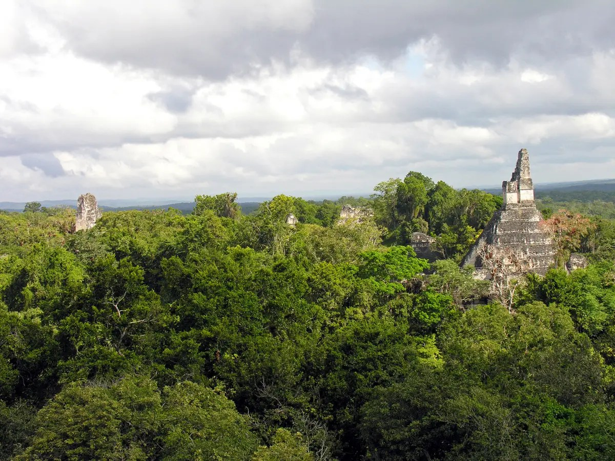 Watch the sun rise over the jungle from the top of an ancient Mayan pyramid in Tikal, Guatemala.