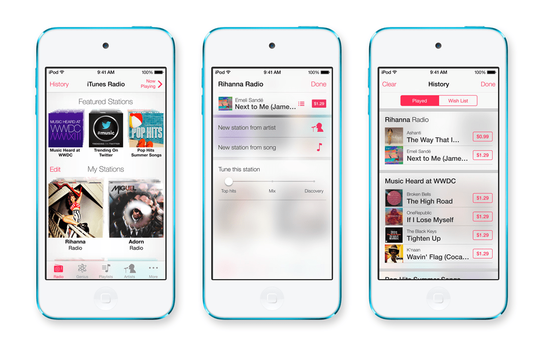 The new iTunes Radio service encourages you to ditch Pandora. Although we still prefer Spotify.