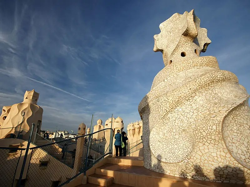 The roof of La Pedrera is covered in chimneys known as espanta bruixes (witch scarers).