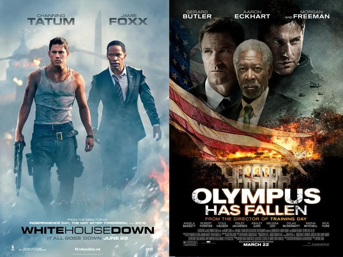white house down, jamie foxx, channing tatum, olympus has fallen, morgan freeman, gerald butler, aaron eckhart