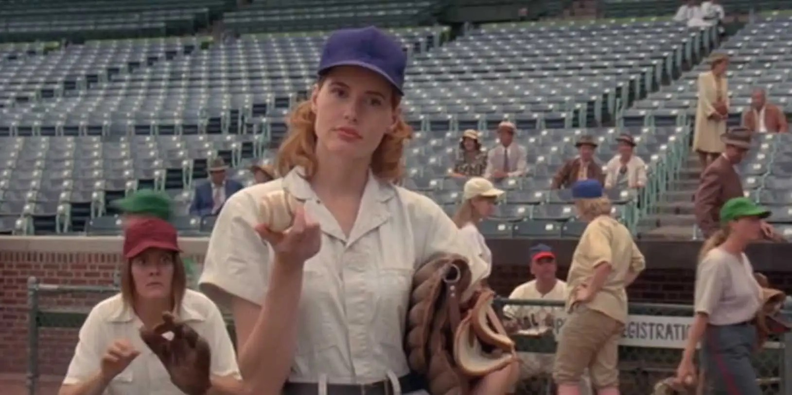 """A League Of Their Own"" (1992): During World War II while men are fighting overseas, baseball opens its doors to women. A rag-tag team (Geena Davis, Madonna, Rosie O'Donnell) fights to be taken seriously."