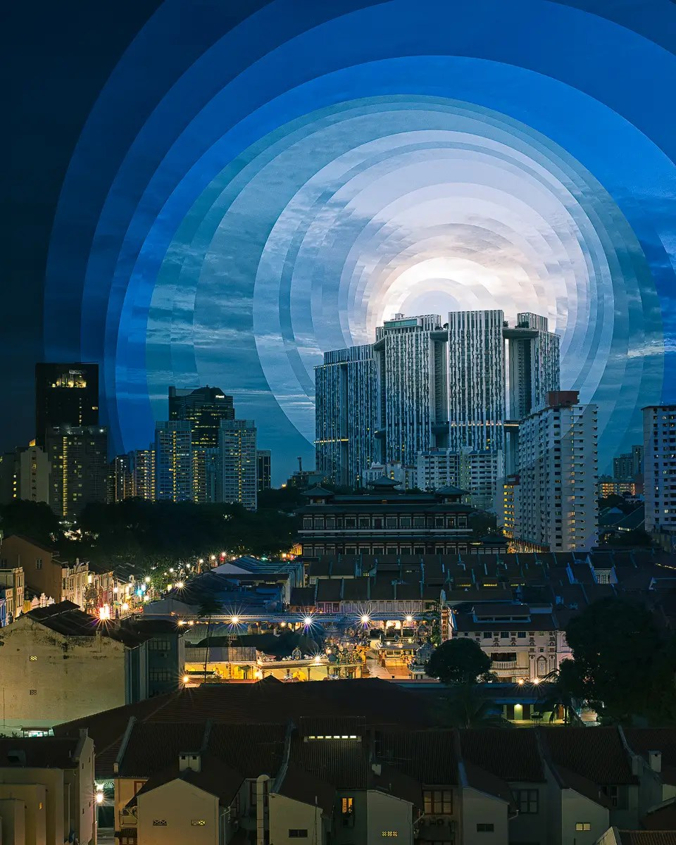 Stacked circles show the passing of time over Singapore's China town.