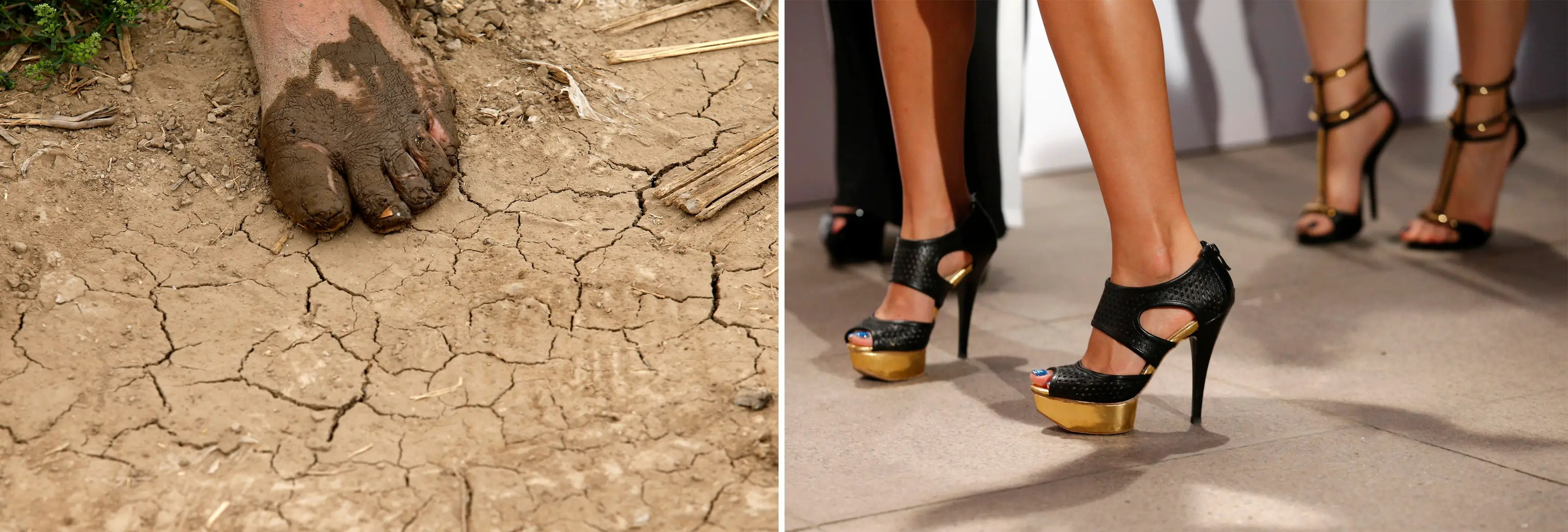 (L) A female farmer's bare foot covered in mud about 50 miles from Beijing and (R) women wearing high heels during a photo session in Beijing.