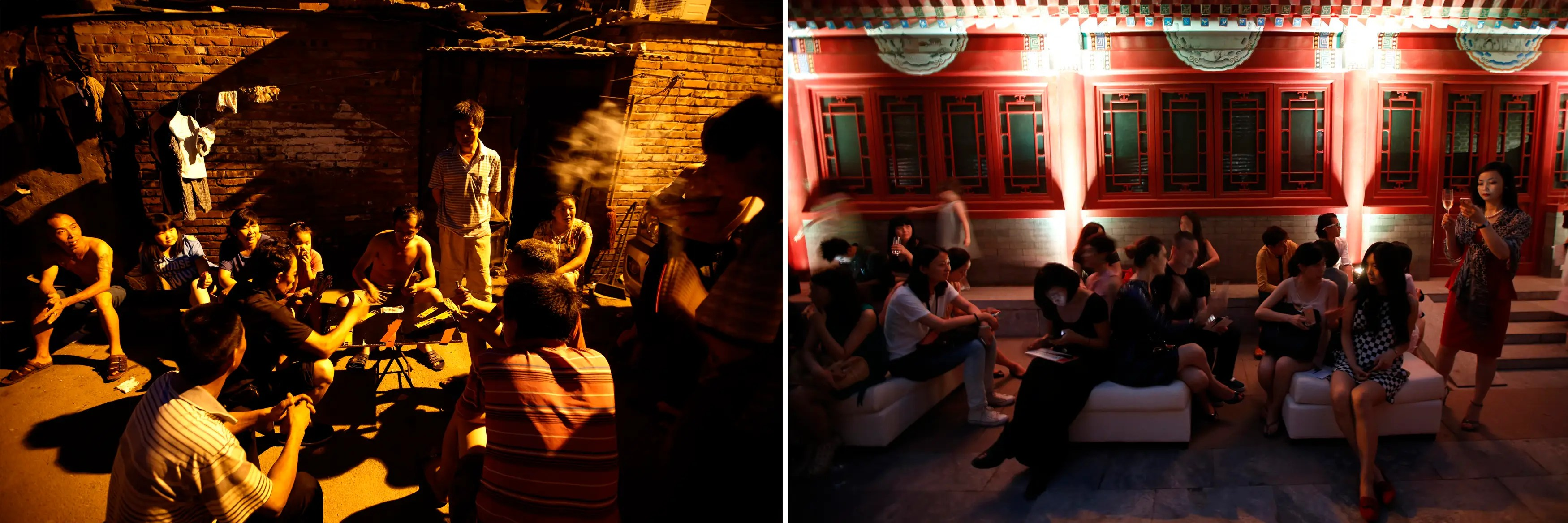 (L) Residents gambling under streetlights in an alley of a residential area for migrant workers and (R) guests drinking Champagne as they wait for the start of a fashion show in Beijing.