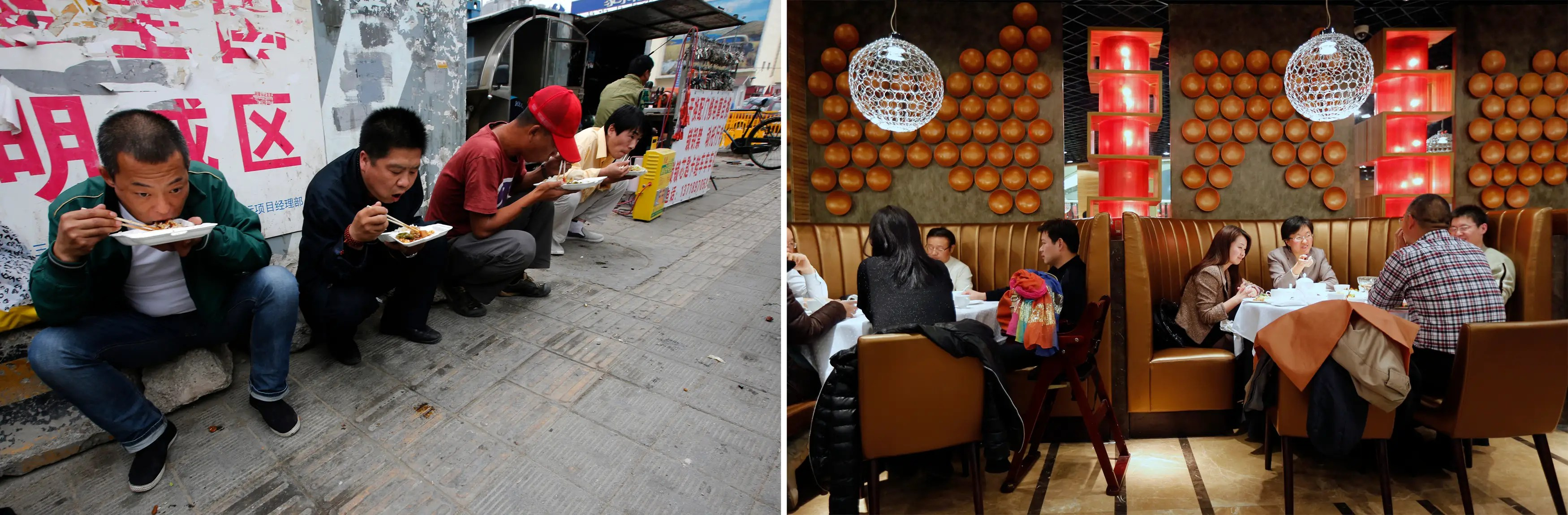 (L) Men eat their lunch on a street for about $1.60 and (R) people having dinner worth about $60 - $80 at a restaurant in Beijing.