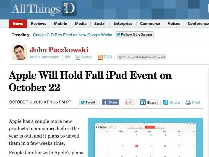 Apple should announce the new iPad on Oct. 22. Expect media invites to go out on the 15th.