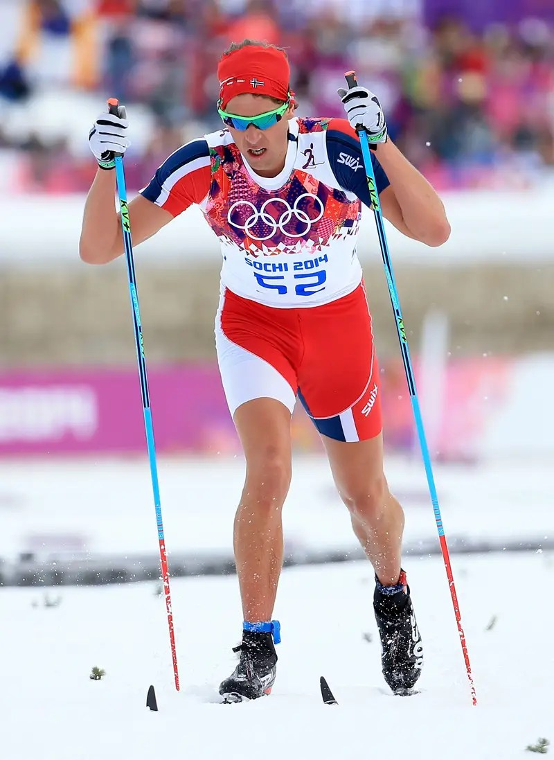Chris Jepersen, a Norwegian cross country skier, cut the sleeves and legs off of his uniform.