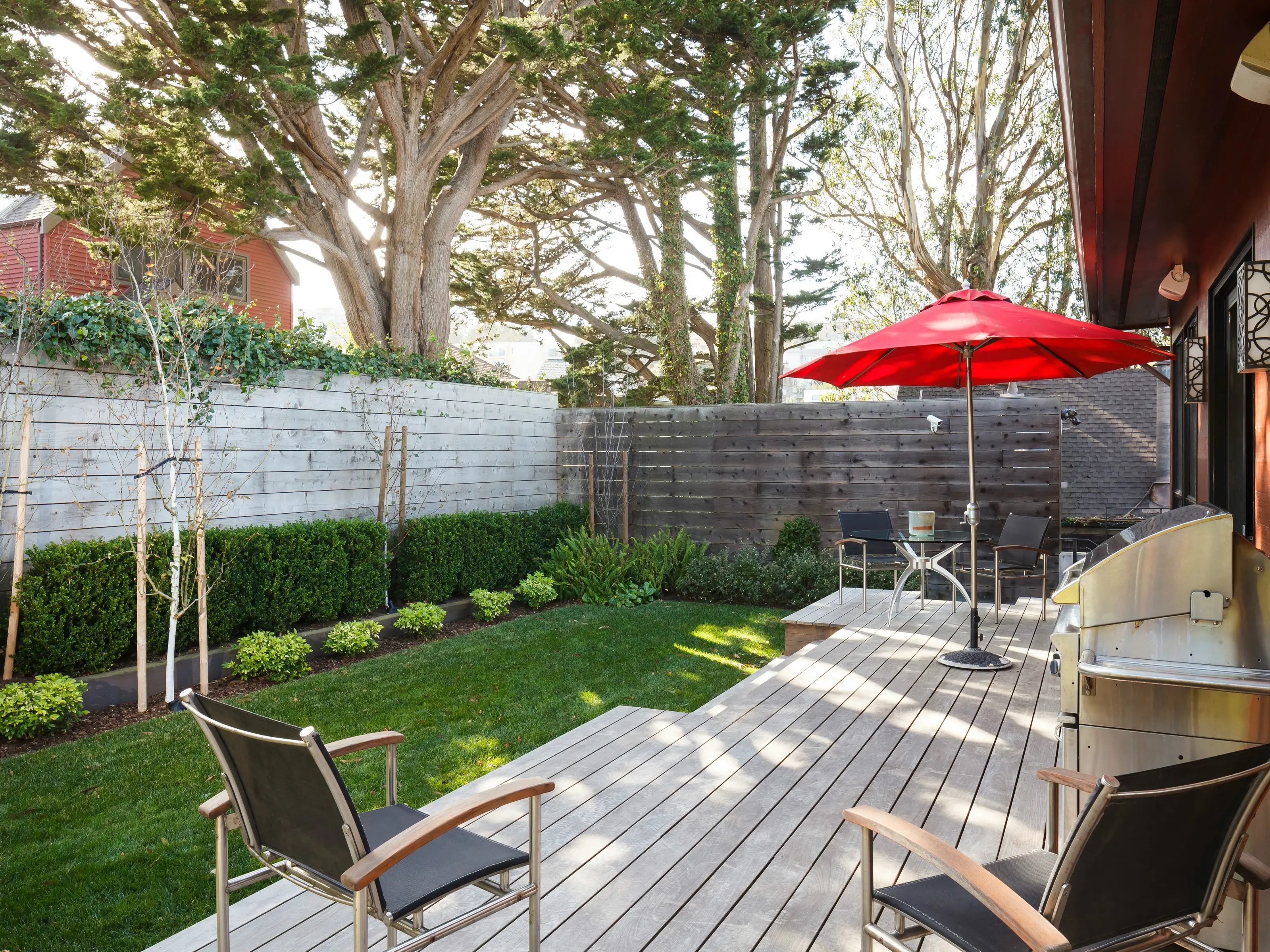 Here's a view of the home's private backyard.