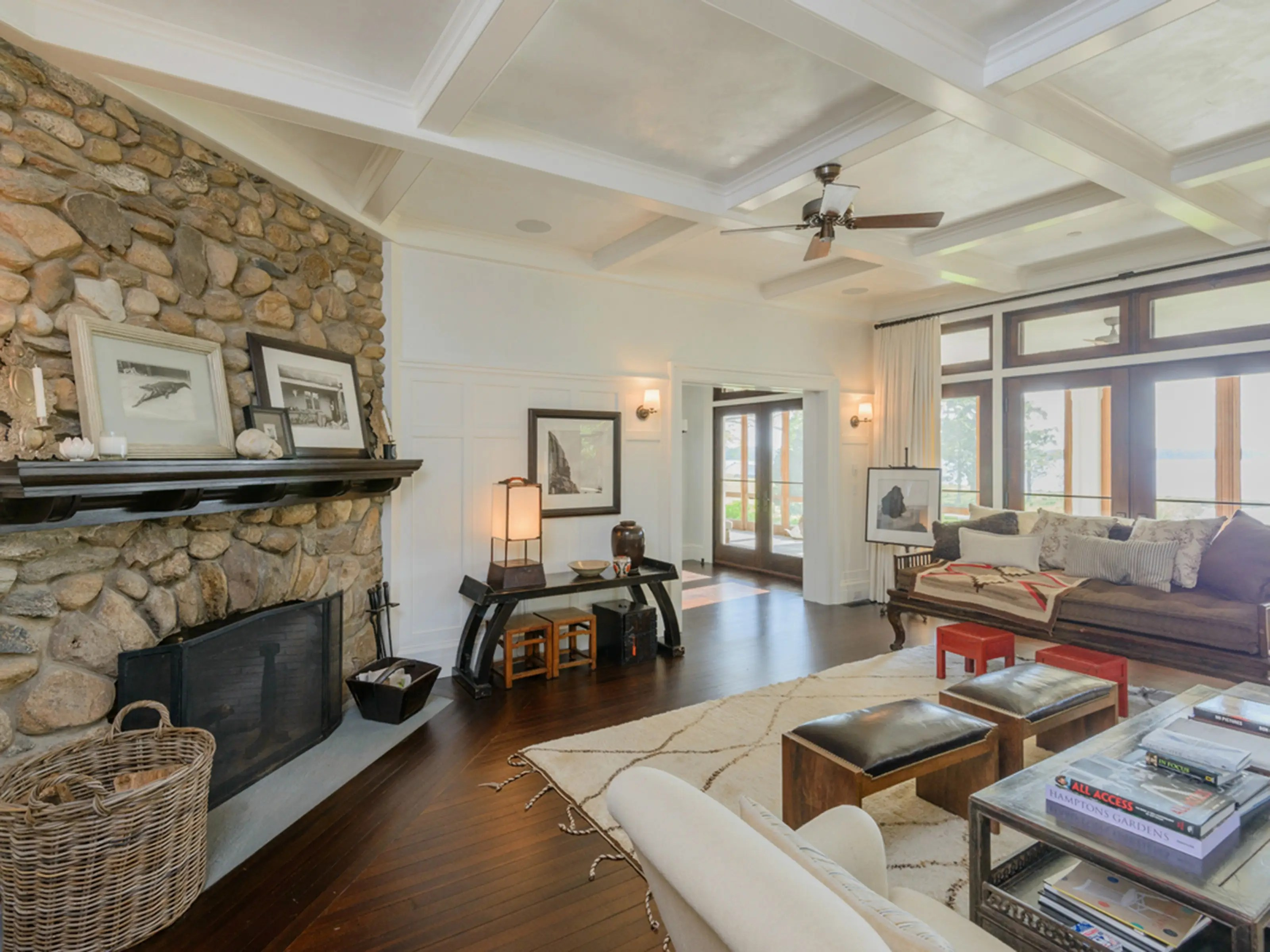 Inside, the home has over 12,000 square feet of space inside with six fireplaces.