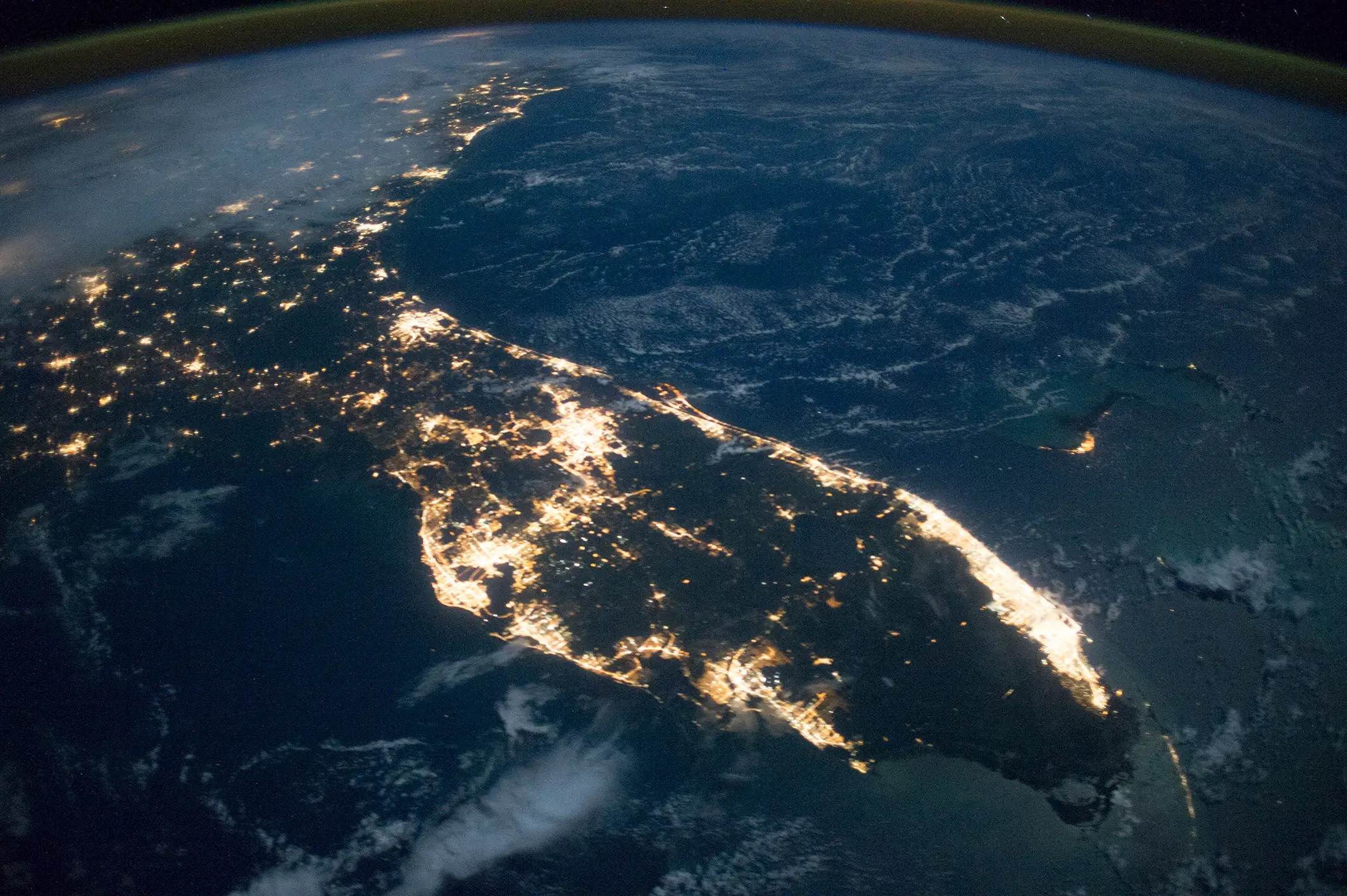 Astronauts aboard the International Space Station took this photograph of Florida in October 2014.