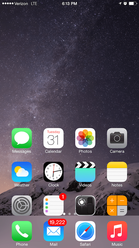Tap the home button twice to move app icons and other content toward the bottom of the screen (iPhone 6 Plus only).