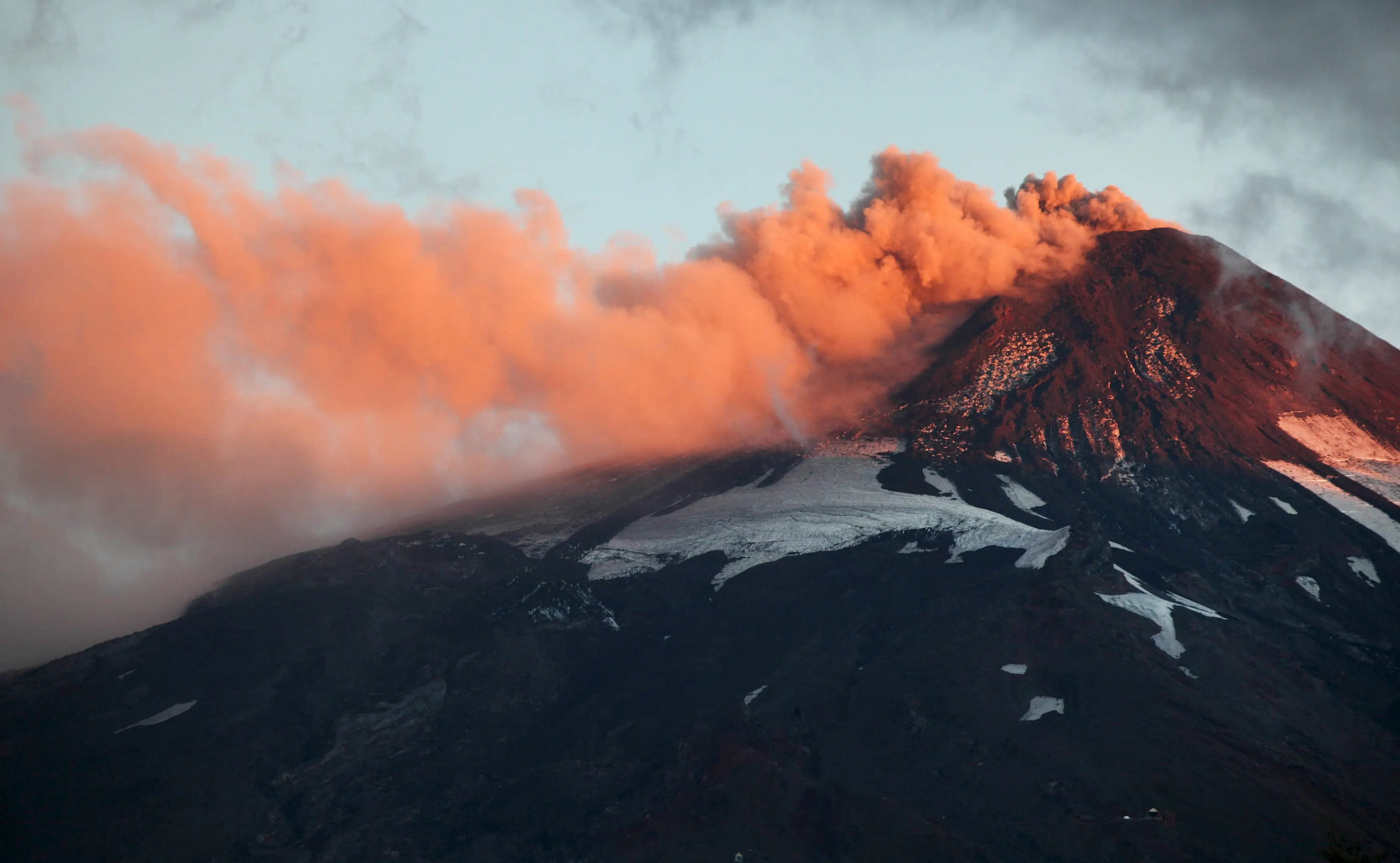 Smoke and lava spew from Chile's Villarrica Volcano at the end of March.