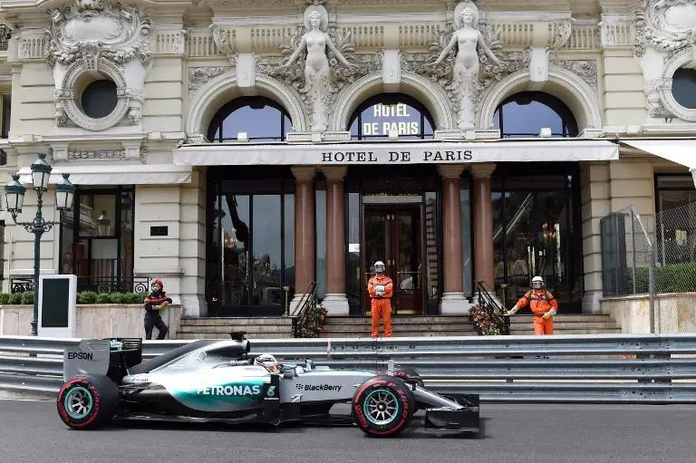 Mercedes' British driver Lewis Hamilton drives during the third practice session at the Monaco street circuit in Monte-Carlo on May 23, 2015