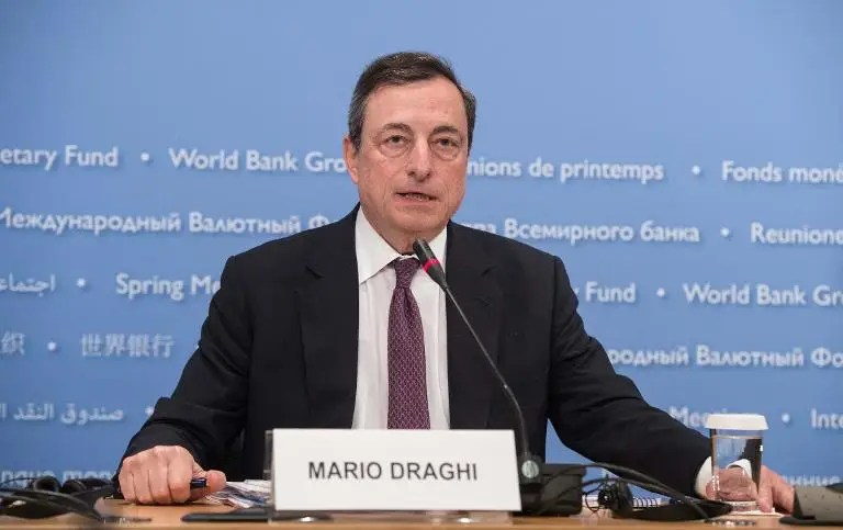 European Central Bank President Mario Draghi, pictured here in Washington, DC on April 18, 2015, called on eurozone members to summon the political courage and discipline to speed economic and monetary union