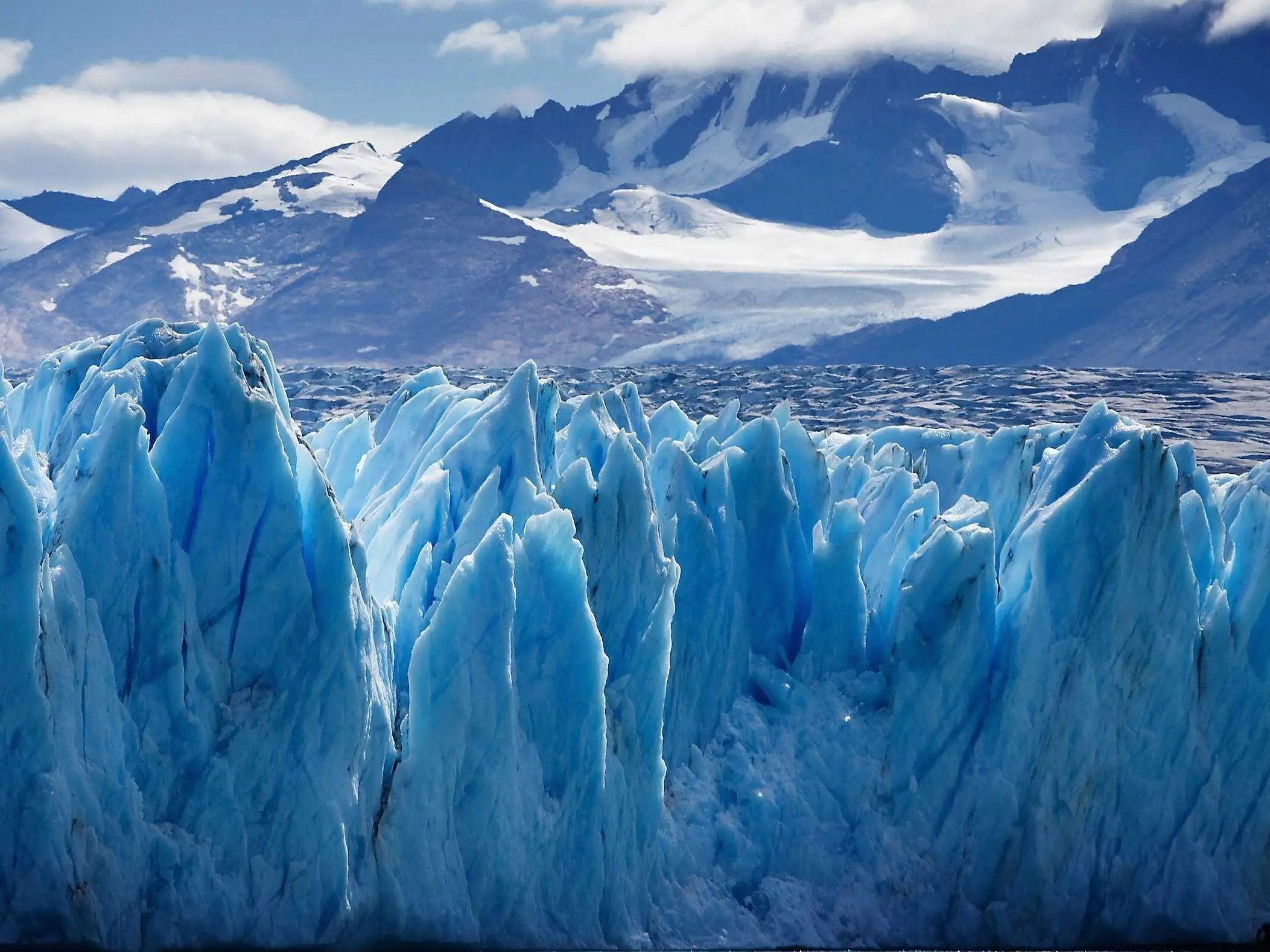Marvel at the icy blue Upsala Glacier, a valley glacier in Argentina's Los Glaciares National Park in Patagonia.