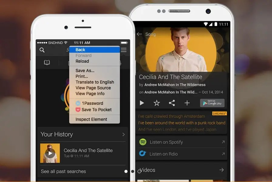 SoundHound will discover music playing around you.
