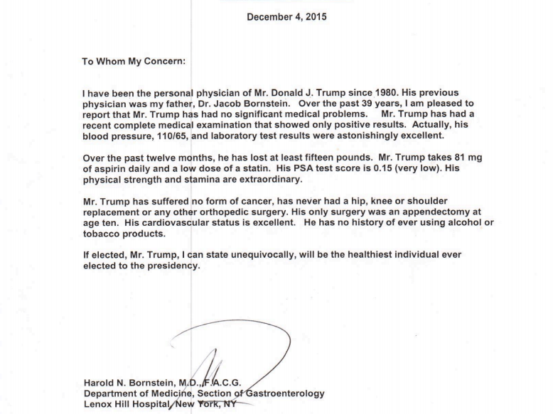 Donald Trump health report Hes perfect  Business Insider