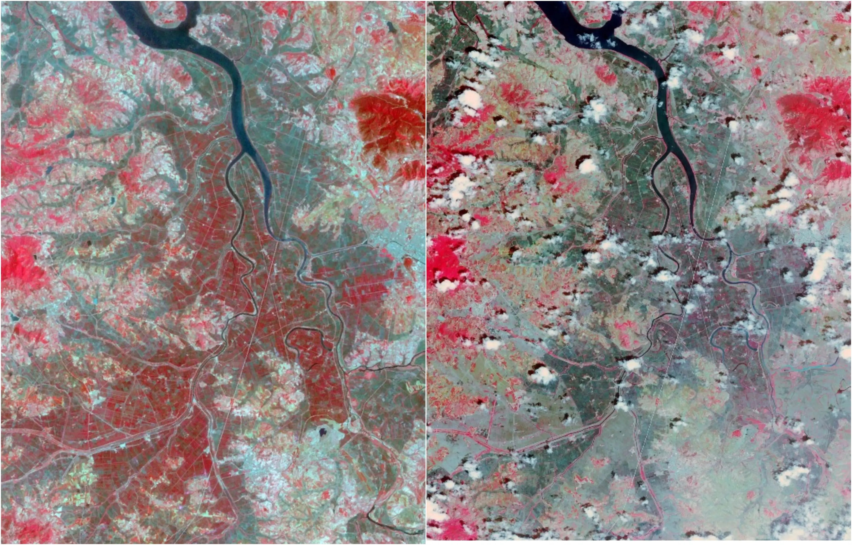 North Korea experienced one of the country's worst droughts in 2015 (right). You can see how much less vegetation (in red) there is compared to 2002 (left).