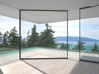 Designers created a sliding glass door that can turn