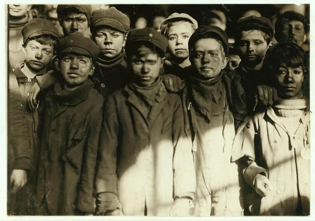 Group of Breaker Boys in #9 Breaker, Hughestown Borough, Pennsylvania Coal Co. Location: Pittston, Pennsylvania, January 1911.