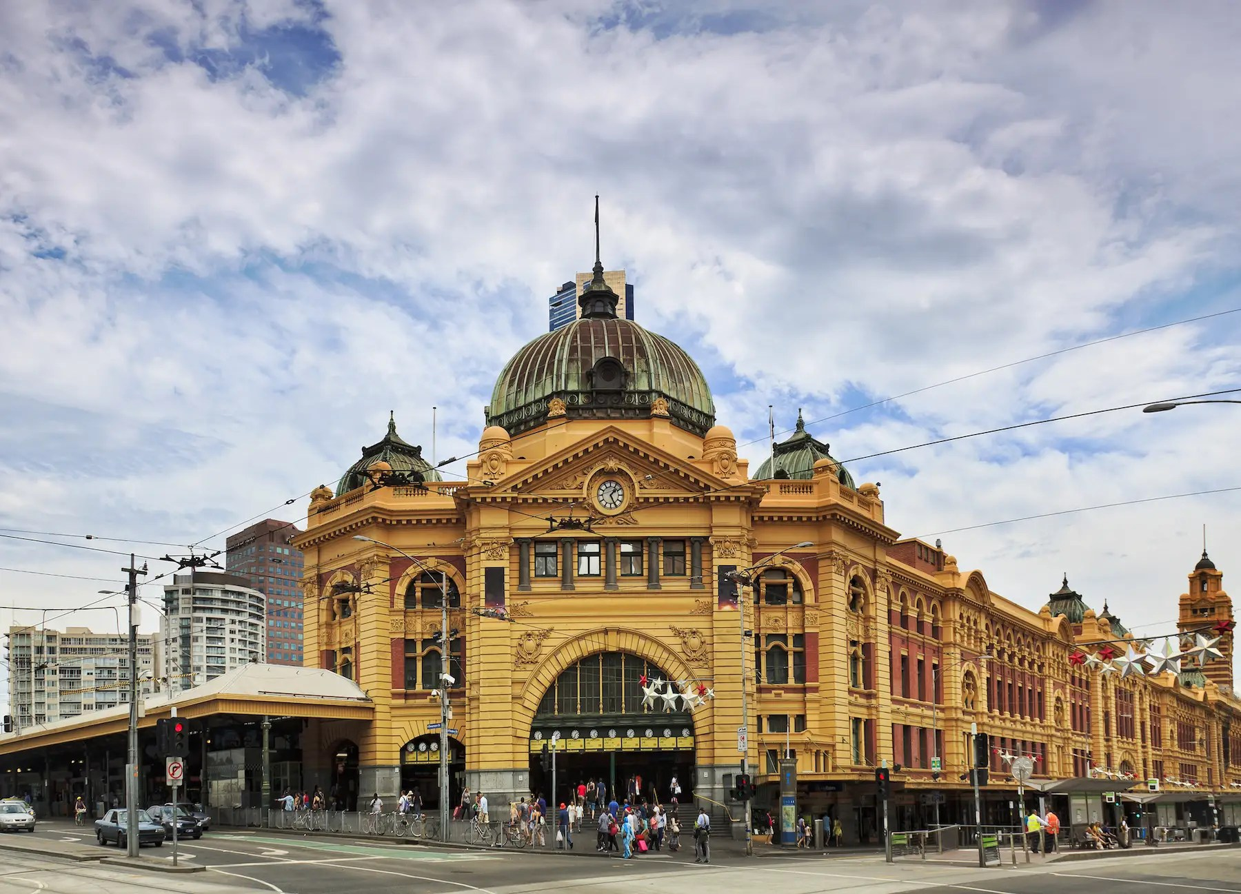 74. The striking Flinders Street Station in Melbourne is designed in a French Renaissance style. It's the busiest train station in Australia, serving more than 90,000 passengers every weekday.